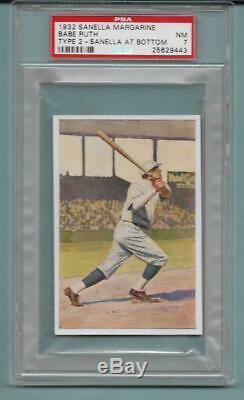 1932 Sanella Babe Ruth Card Super Rare Type 2, Psa 7 (ex-mt) + Set Pre Goudey