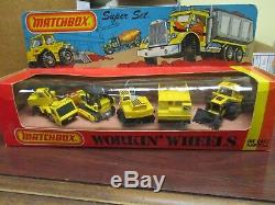 1982 Matchbox Super Set Workin Wheels 060024 Construction Bulldozer Crane RARE