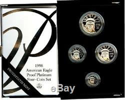 1998 W American Eagle Platinum 4coin Proof Set KEY DATE super low mintage Rare