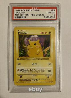 1999 Pokemon Base Set 1st Edition Red Cheeks Pikachu #58 PSA 10 GEM MINT