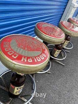 Adolph Coors Golden Colorado Beer Bottle Barstools Bar Stool Super Rare Set Of 4