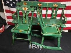 Antique Super Rare. 1940s J. S. Ebersol Amish Childs Furniture Set Stunning
