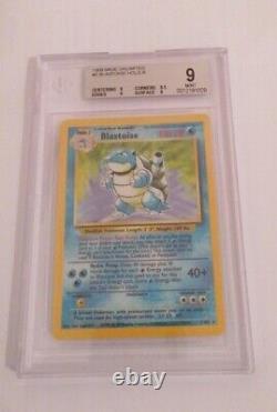 BECKETT 9 Blastoise Holo 2/102 BASE SET Pokemon Card 1999 WOTC No PSA SUPER RARE