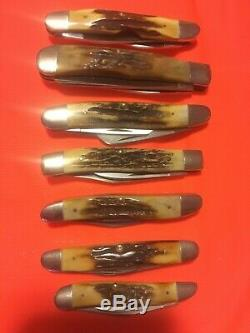 Case XX Red Scroll Super Stag 7 Rare Knife Set 1978 2 Dot