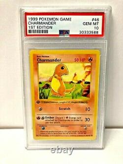 Charmander 1st Edition Shadowless Base Set 1999 Pokemon Game #46 PSA 10 GEM MINT