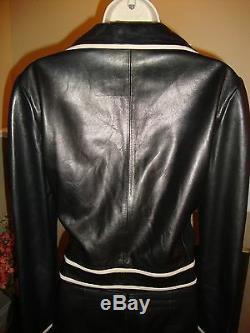 Crazy Cool, Super Rare, New Gianni Versace Black Leather Pant / Jacket Set