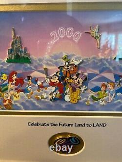 Disney Celebrate the Future Land to Land Framed Pin Set Super Rare 0978 of 2000