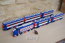 Lego train rare moc, santa fe super chief 10020 bleu blanc rouge