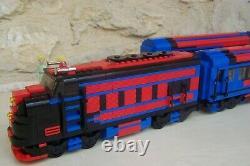 Lego train rare moc, santa fe super chief 10020 bleu noir rouge