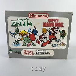NEW Nintendo Super Mario Brothers 1989 Dish Set Plate Cup Bowl Peter Pan Rare