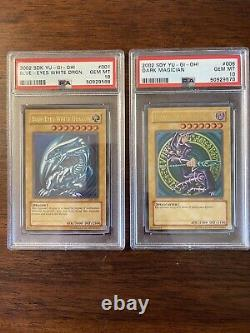 PSA 10 Set Yu-Gi-Oh 2002 Blue-Eyes White Dragon SDK 001 Dark Magician SDY 006