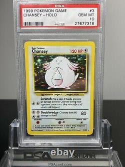 Pokemon 1999 Chansey Holo Base Set Unlimited PSA 10 Super Rare Grade