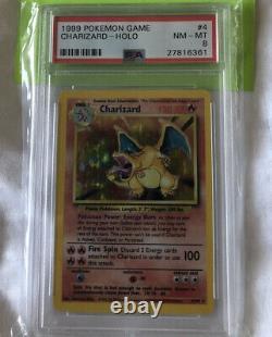 Pokemon Card Unlimited Charizard Base Set 4/102, PSA 8 Near Mint-Mint super rare