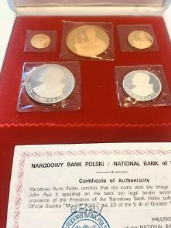 Poland People's Republic 5-piece gold and silver Proof set 1982 Super Rare Set