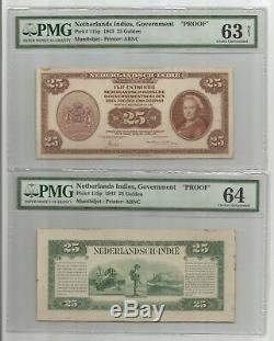SET(18) PROOF Netherlands Indies Pick#110p 118p 1943 Muntbiljet SUPER RARE PMG