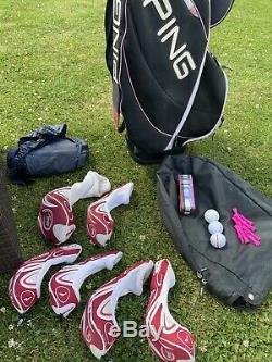 SUPER RARE PING Ladies FAITH Golf Club Set Irons, hybrids, woods, driver, bag, Covers