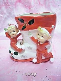 SUPER RARE VTG Christmas Lefton Japan Santa Reindeer Red Bows Gold Trim Set EX