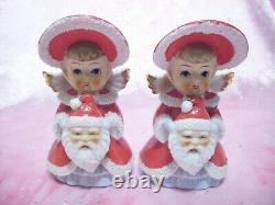 SUPER RARE VTG Japan Christmas Angel Girl Hold Gold Star Gift Bible Figurine Set