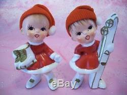 SUPER RARE VTG Japan Christmas Candy Cane Boy Elf Pixie Angel Figurine Set