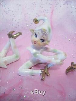 SUPER RARE VTG Lefton Japan Elf Pixie Boys Blond Pastel Set EX