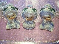SUPER RARE Vintage 1950s Lefton Japan Christmas Snow Baby Kids Set