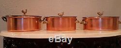 Spring Switzerland Set Of 3 Rooster Finials Copper Pots, Super Rare
