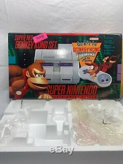 Super Nintendo SNES Donkey Kong Set Console Box & Foam Only Rare
