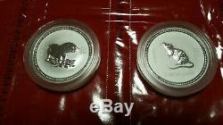 Super RARE-Complete Set Australian Lunar 2oz Silver Series 1 Coins 1999 2010