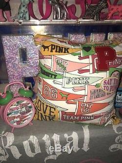 Super RARE Victorias Secret PINK Pennant Flag Vintage Alarm Clock Pillow SET