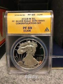 Super Rare 2016 W Silver Eagle, Congratulations Set ANACS PF 69 DCAM