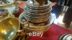 Super Rare Aynsley Golden Orchard D1019 Teapot Coffee Set extras 52 Pieces