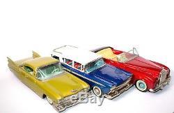 Super Rare Japanese Boxed 3-car Set Of Cadillac, Rolls Royce, & Nash Rambler