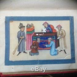 Super Rare Set 12 Of Antique 1850 Chinese Torture Painting On Rice Paper