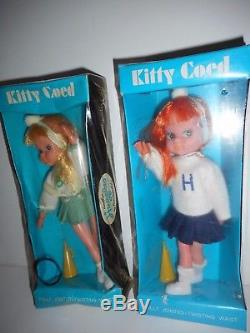 Super Rare Set Kitty Coed Cheerleader Big & Glancing Eyes Fun World Huggles Doll