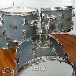Super rare Pearl 5 Piece vintage drum set kit in blue DENIM 12-13-16-22