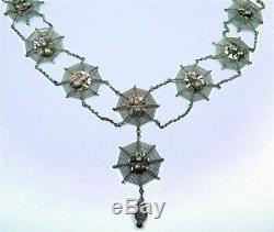 Very Rare Chinese Sterling Silver Spider Web Super 6-pc Parure Set