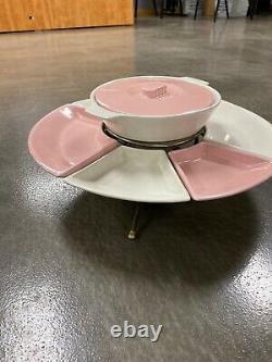 Vintage Kenwood Lazy Susan 9 Piece Set Space Age Pink White 1950s Super Rare