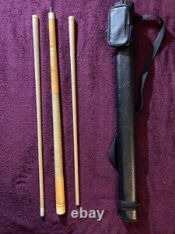 Vintage SUPER RARE MEUCCI Pool Cue Set (2 shafts & 1 butt) FREE Black case