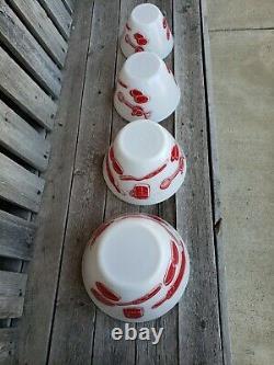 Vtg Super Rare Kitchen Aid Fire King Glass Mixing Bowl 4 Piece Set